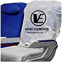 Airplane Seat Covers (with Armrest) 2 SETS : Disposable Also for Theater and Restaurants (White)