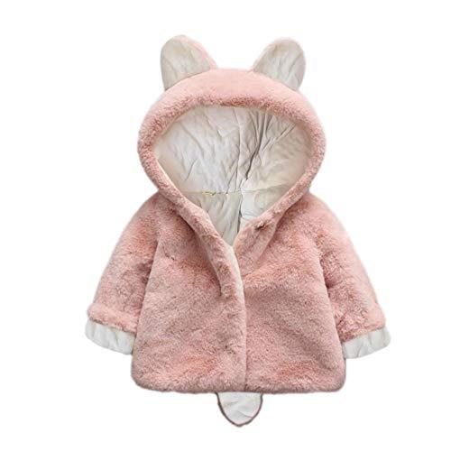 FeiliandaJJ Baby Mantel,Infant Toddler Mädchen Junge Herbst Winter Vlies Kapuzenjacke Outwear Kinder Cute Pinguin Coat Reißverschluss Fleece Jacken Dicke Warme Kleidung (12~18Monate, Rosa)