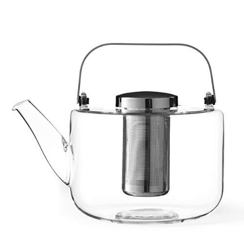 Teekanne Glas Mit Siebeinsatz Tropffrei: Glasskanne mit Teesieb, Henkel Wird Nicht heiß, für losen Tee geeignet, 1.2 L