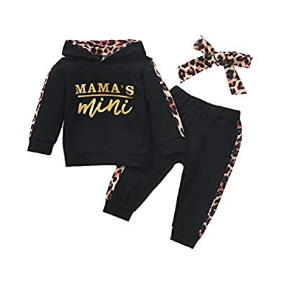 Newborn Infant Baby Girl Clothes Outfits Long-Sleeve Hoodie Sweatshirt Floral Pants Toddler Girl Clothing Set(MiniBlackMa/80) by
