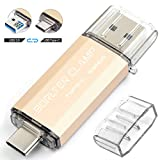 512GB Memoria USB de Tipo C, BorlterClamp Unidad Flash USB 3.0 de Doble Puerto, USB C OTG Memory Stick Pendrive para Smartphones, Tabletas y Computadoras (Dorado)
