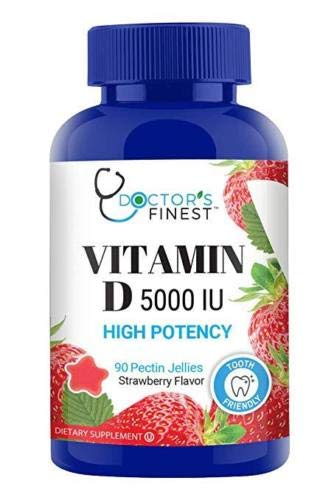 Doctors Finest Vitamin D 5000 IU High Potency Gummies – Tooth Friendly – Vegetarian, GMO-Free & Gluten Free – Great Tasting Mixed Berry Flavor Pectin Chews – Dietary Supplement – 90 Jellies [45 Doses]