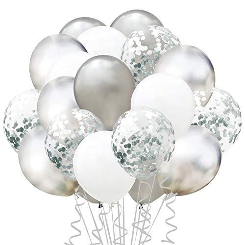 TOPWINRR 60 Stück Helium Party Ballon Hochzeit Deko Luftballons Geburtstag Kinder Latex Konfetti Ballons Dekoration (Silber)