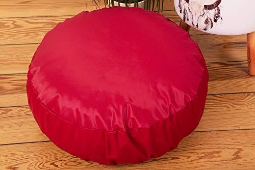 rotes, rundes Kissen, 50cm x 50cm Sitzkissen für Kinder, weiches Bodenkissen, hübscher Pouf für Mädchen, tolles Wohnaccessoires fürs Kinderzimmer, schöne Geschenkidee von Canenya