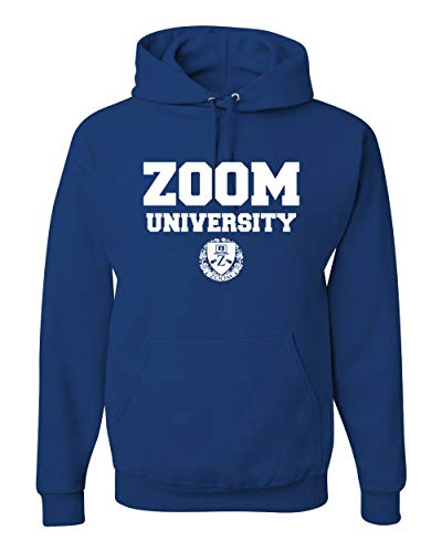 Zoom University Quarantine Class of 2020 Education Home School   Mens Hooded Sweatshirt Graphic Hoodie, Royal, Medium