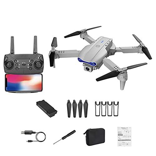 K3 - Dron plegable con WiFi FPV HD 4 K con doble cámara, mando a distancia, cuadricóptero con luces LED de seis ejes, giroscopio, arranque y aterrizaje de larga duración, para principiantes y niños
