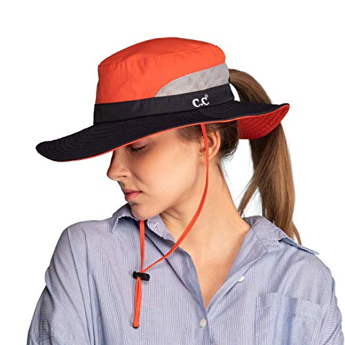 C.C Hatsandscarf Exclusives Outdoor Sun Hat UV Protection Foldable Mesh Wide Brim Beach Summer Hat (ST-2177) (Orange)