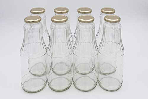 Flaschenbauer - 8 x Bavaria Glasflasche 1 Liter mit Twist-Off Deckel Gold TO53 – Glasflaschen 1l ideal für Saftflaschen 1l, Smoothie Flaschen, Milchflaschen 1l, Einmachgläser 1l