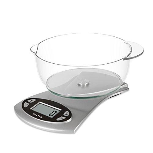 SALTER digitale keukenweegschaal, elektrische weegschaal, vaatwasmachinebestendige kom 1,8 l, horloge, stopwatch, temperatuursensor, gemakkelijk afleesbaar LCD-display, imperiaal en metrisch