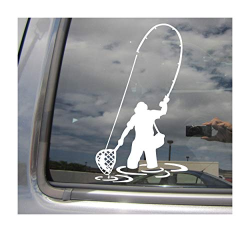 Right Now Decals Fly Fishing Fisherman Trout Fish - Cars Trucks Moped Helmet Hard Hat Auto Automotive Craft Laptop Vinyl Decal Store Window Wall Sticker 04049