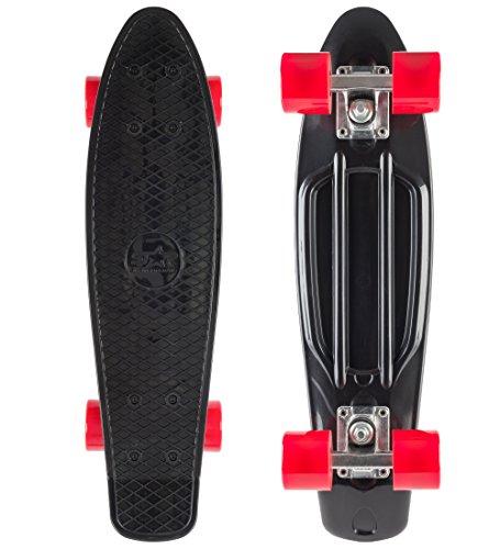 BIKESTAR Vintage Retro Cruiser Skateboard 60mm für Kinder und Erwachsene auch Anfänger ab ca. 6 - 8 Jahre | Schwarz & Rot