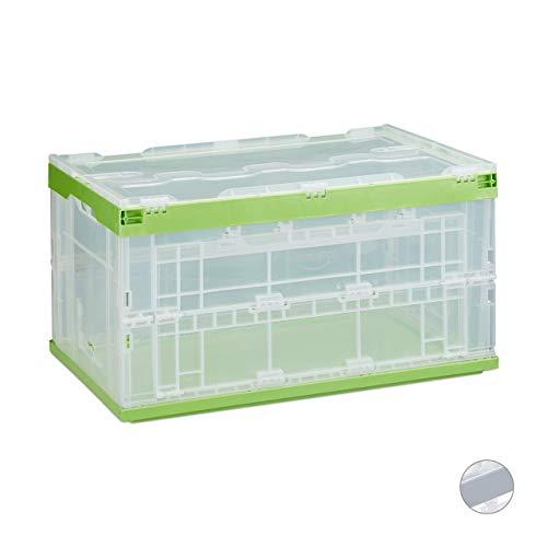 Relaxdays Profi Transportbox, stabil, Gewerbe, hochwertiger Kunststoff, Qualität, 60L, HBT 31,5 x 59,5 x 39,5 cm, grün