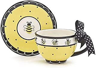 Whimsical Honey Bumble Bee Teacup and Saucer Set Adorable Set for Teas