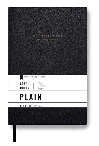 Minimalism Art, Premium Soft Cover Notebook Journal, Plain Blank Page, 176 Pages, Premium Thick Paper 100gsm, Ribbon Bookmark, Fine PU Leather, Composition B5 7.6' x 10' (Large, Black)