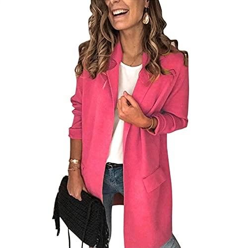 Zldhxyf Veste à manches longues pour femme - Style décontracté, Rose, XL