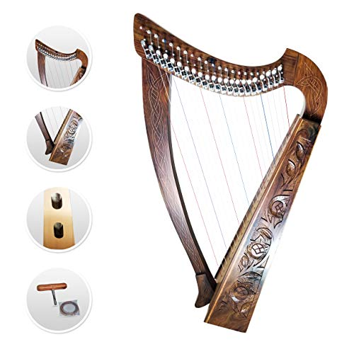 22 Strings Harp Irish Celtic Highland Solid Rosewood Natural Finishing Lever Tuning Key Extra Set included 37' inches tall Roseback