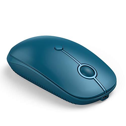 Jelly Comb Ratón Inalámbrico Recargable Bluetooth 2,4G, Modo Triple-USB 2,4G+Bluetooth +Tipo C, 3 dpi, Mouse Silencioso para Computadora/PC/iPad/Tableta, Windows/OS, MacBook/Pro, Azul