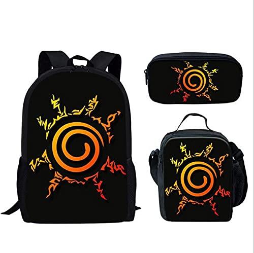 Conjunto de mochila escolar Naruto Conjunto de mochila escolar para niñas Niños Estudiantes Mochila escolar de viaje informal para niños Mochila escolar para adolescentes y niñas