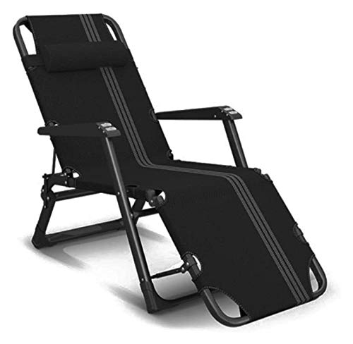 Heavy Duty Sun Lounger Chair Foldable Zero Gravity Recliner Reclining Chairs Waterproof Chaise Lounge Deckchairs Metal (Color : Black)
