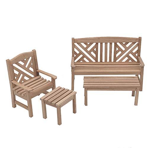 litymitzromq Miniature Furniture Accessories Scene Decoration,4Pcs Wooden Unpainted Mini Bench Chair Table 1/12 Doll House Furniture Kids Toy Wood
