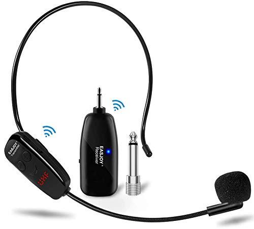 Auriculares con micrófono inalámbrico, micrófonos UHF de pantalla digital y micrófono de mano 2 en 1, alcance de 50 m (164 pies), enchufes de 1/8 '' y 1/4 '' para altavoces de escenario, enseñanza,