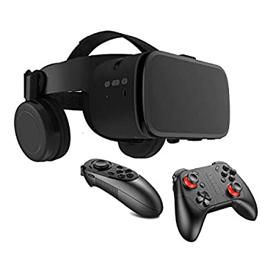 HPH VR Headset with Remote Controller, 3D Glasses Virtual Reality Headset for VR Games & 3D Movies, Eye Care System for iPhone Android Smartphones