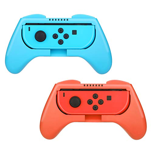 HEYSTOP 2 Piezas Grips Compatible con Nintendo Switch, Mando Grip Kit, Funda Protector Handle Kits para Mandos Grip Set de Nintendo Switch Controller, Rojo & Azul