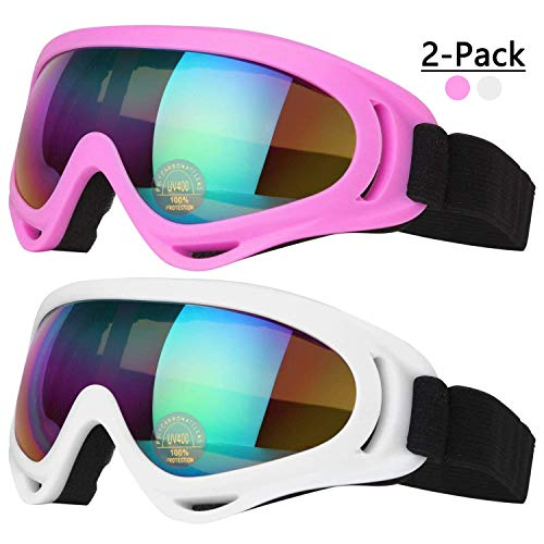 COOLOO Ski Goggles, Pack of 2, Skate Glasses for Kids, Boys & Girls, Youth, Men & Women, with Protection, Wind Resistance, Anti-Glare Lenses (White/Pink)
