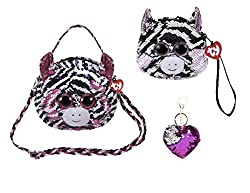 Zoey Changing Glitzy Sequins Plush Purse With Keychain
