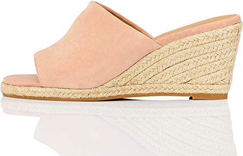 Marchio Amazon - find. Mule Wedge Leather Sandalo Espadrillas con Zeppa, Rosa (Pink), 41 EU
