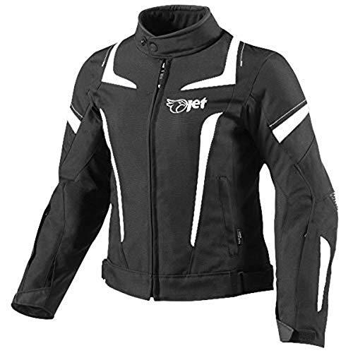 Jet Motorradjacke Damen Mit Protektoren Textil Wasserdicht Winddicht (3XL (EU 44-46), Weiß)