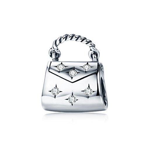 Wostu Abalorio de plata de ley 925 para mujer con diseño de bolso de mano