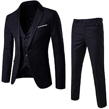 Mens Notch Lapel Modern Fit Suit Blazer Jacket Tux Vest and Trousers Set Three-Piece,Black,Large