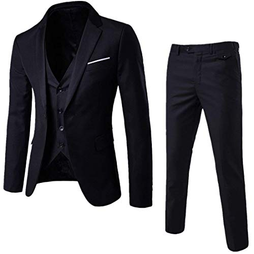 Cloudstyle Mens 3-Piece Suit Notched Lapel One Button Slim Fit Formal Jacket Vest Pants Set (Black, XX-Large)