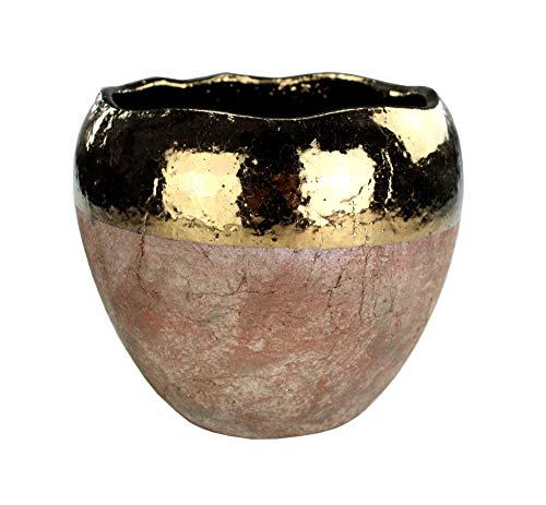 DARO DEKO Blumentopf rund aus Keramik XL - braun mit Goldrand