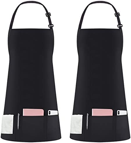 Syntus 2 Pack 3 Pockets Adjustable Bib Apron Thicker Version Waterproof with Extra Long Ties product image