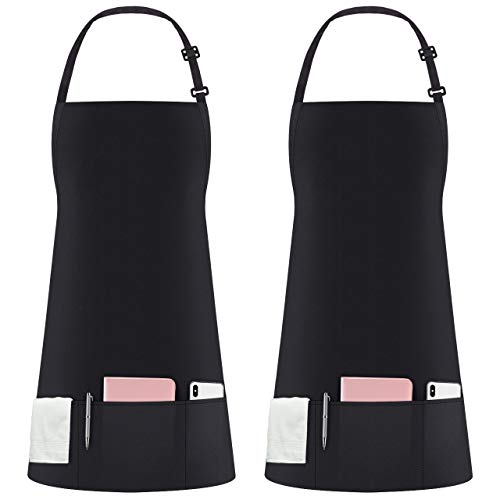 Syntus 2 Pack 3 Pockets Adjustable Bib Apron Waterdrop Resistant Cooking Kitchen Aprons for Women Men Chef, Black