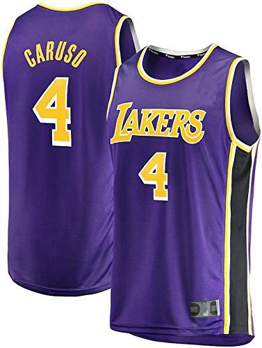 FEZBD Basketball Jersey Laker 4# Caruso, Jóvenes Sportswear Unisex Sin Mangas Camiseta Malla Jersey,Púrpura,XL180~185cm