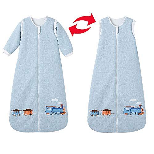 Saco de dormir para bebé de invierno con mangas, para niños y niñas recién nacidos, 3,5 tog, 0 – 10 años, 110 cm/24 – 36 meses, azul de tren / nubes