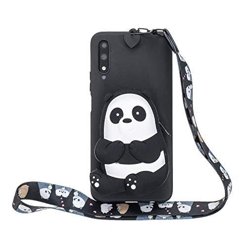 Miagon Silikon Hülle für Huawei Honor 9X,3D Süß Brieftasche Lager Tasche Design mit Halskette Kordel Schnur Handykette Necklace Band,Schwarz Bär