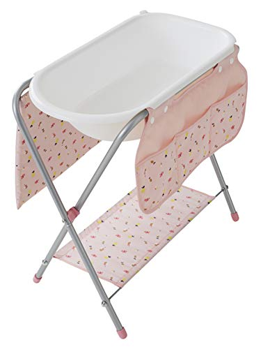 Vertbaudet Puppen-Wickeltisch mit Badewanne weiß/rosa ONE Size