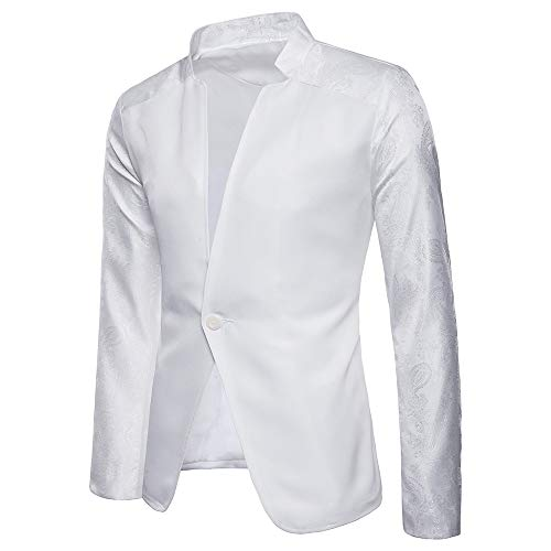 2018 Wintialy Fashion Charm Men's Casual One Button Fit Suit Blazer Coat Jacket Top White