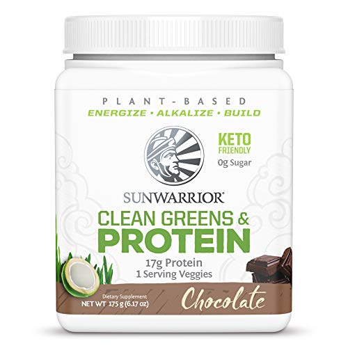 Sunwarrior Clean Greens Protein, Vegan Clean Greens & Protein Powder Superfood, with BCAAs, Dairy Free, Gluten Free, Soy Free, Non-GMO, and Keto Friendly, Chocolate 175g