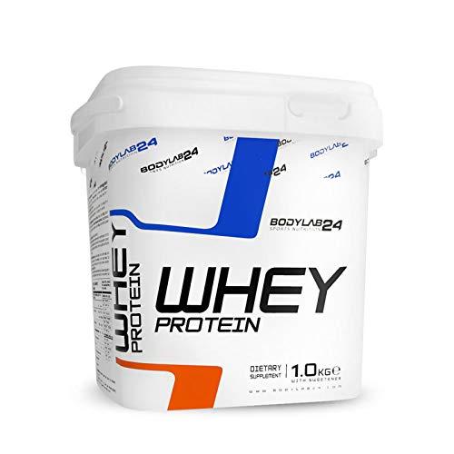Bodylab24 Whey Protein 1kg | Eiweißpulver, Protein-Shake für Kraftsport & Fitness | Kann den Muskelaufbau unterstützen | Protein-Pulver mit 80{fd259140753c9ea07cacb5139f95f2ef1392aaf189cd77d3aad4b57f9d8806de} Eiweiß | Aspartamfrei | Himbeer-Joghurt