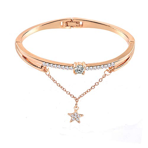 Pulsera para mujer, pulsera de apertura, pulsera de corazón con diamantes de imitación de piedras preciosas de colores, pulsera de diamantes de acrílico para bodas, graduaciones,