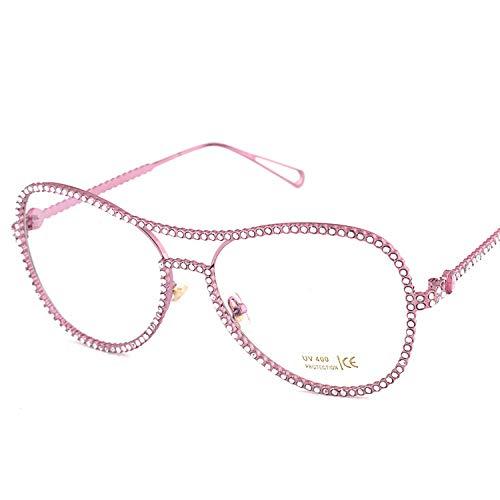 Marco grande con diamantes de imitacin para mujer, espejo plano de moda, marca europea y americana, espejo de rana, marco de gafas para miopa