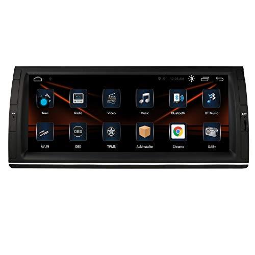 Autoradio Android 10 OS con touch screen da 10,25 pollici, adatta per BMW Serie 5 E39 / X5 E53 / M5 / 7 Series, supporto navigazione GPS GPS WIFI 4G USB, Bluetooth DAB