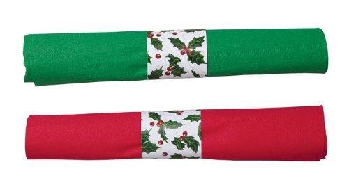 Hoffmaster Holly Tissue CaterWrap Clear Cutlery and Two 2 Ply Green and Red 15 x 17 inch Napkin with Band Kit - 100 per case.