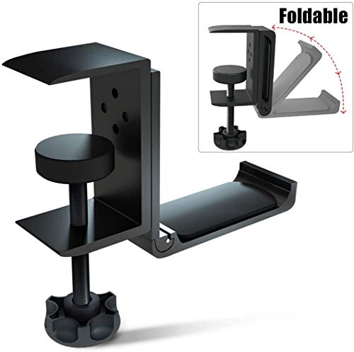 nonbrand Foldable Headphone Stand Hanger Holder Bracket Aluminum Headphones Headset Clamp Hook Under Desk Space Save Mount Fold Upward Not in Use, Universal Fit All Headphones, Black