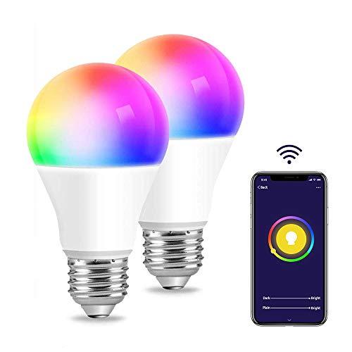 Bombilla LED Inteligente WiFi, RGBCW Multicolor Regulable, Luz Inteligente 6000K 9W, Compatible con Amazon Echo Alexa Google Home, Soporta Luz Blanca Fría y Cálida, E27, Pack de 2